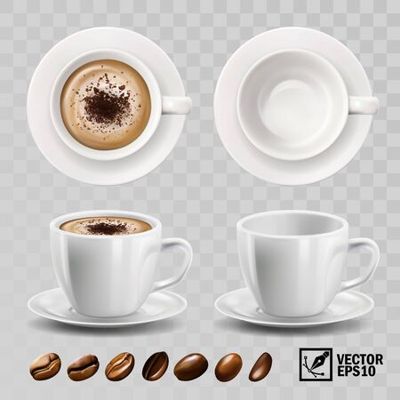 realistic vector cup of cappuccino or latte coffee with chocolate topping, top view, side view