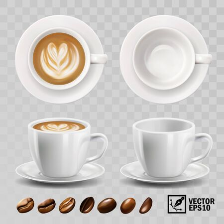 realistic vector cup of cappuccino or latte coffee with heart pattern, top view, side view Illustration