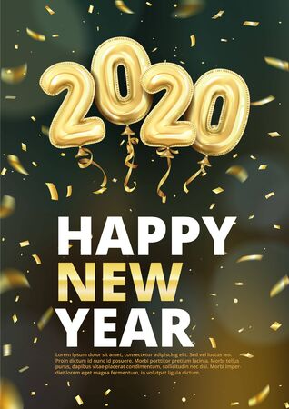 3d realistic isolated vector vertical banner, golden gel balls arranged as a number two thousand twenty, 2020, New Year's balloons with tinsel to decorate your design, christmas Standard-Bild - 142044250