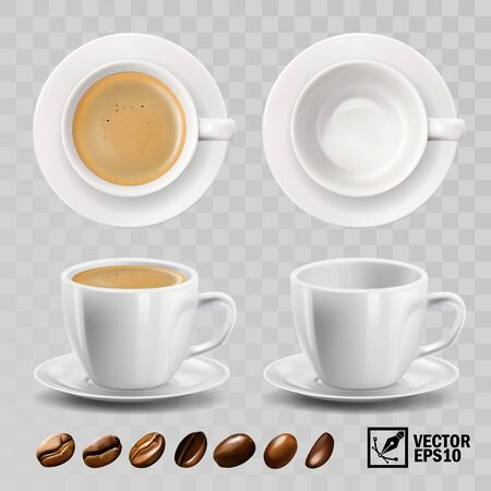 realistic vector cup of cappuccino, espresso or americano coffee with froth, top view, side view