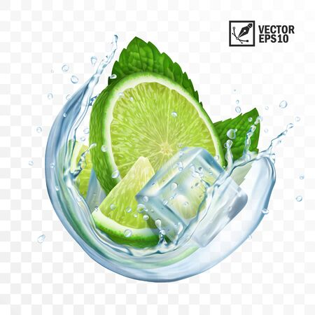 realistic transparent vector circle splash mojito, Ice cubes, mint leaves, water splash and lime 일러스트