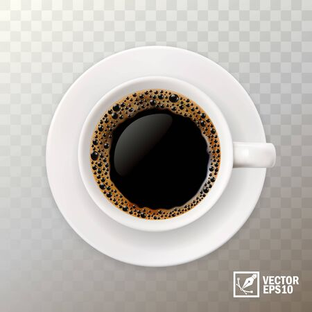 realistic vector cup of black coffee, top view
