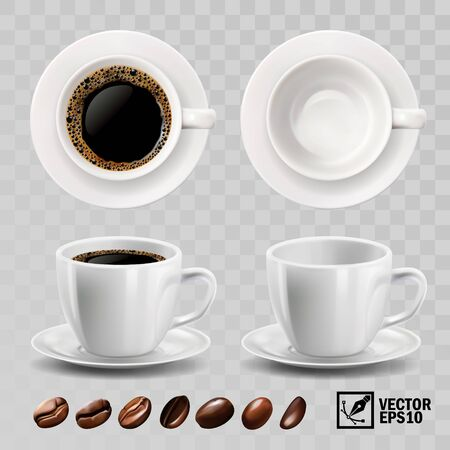 realistic vector cup of black espresso or americano coffee, top view, side view