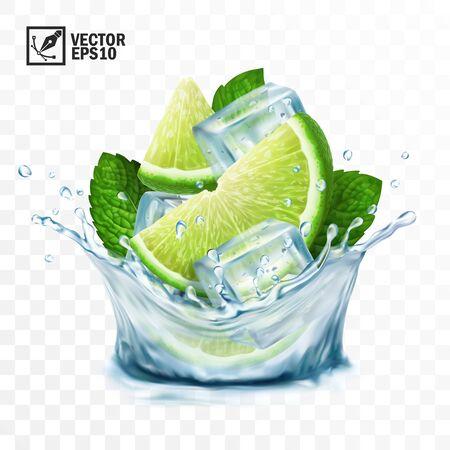 Mojito de salpicaduras de vector transparente realista 3D, cubitos de hielo, hojas de menta, salpicaduras de agua y lima