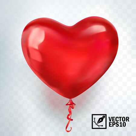 realistic vector red balloon in form of heart, greeting card for celebrating, valentine's day and World Heart Day