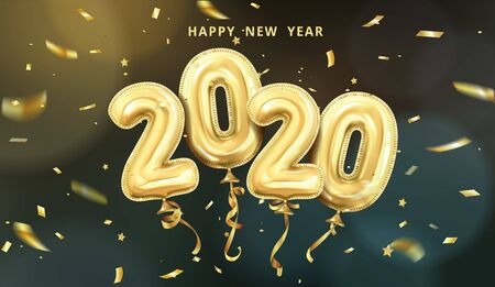 realistic isolated vector horizontal banner, golden gel balls arranged as a number two thousand twenty, 2020, New Year's balloons with tinsel to decorate your design, christmas, ads Standard-Bild - 142044758