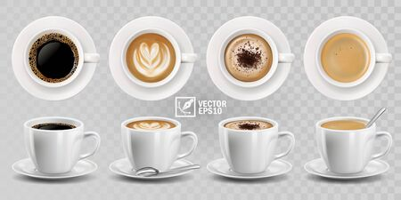 3d realistic vector isolated white cups of coffee with spoon, top and side view, cappuccino, americano, espresso, mocha, latte