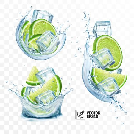 realistic transparent vector set splash mojito, Ice cubes, mint leaves, water splash and lime 일러스트