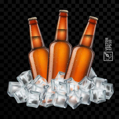 3d realistic transparent brown beer bottles in ice cubes