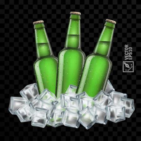 3d realistic transparent beer bottles in ice cubes Vector Illustratie