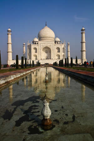 mausoleum: Taj Mahal - India,The southern view of Taj Mahal at sunrise. The Taj Mahal is a mausoleum at Agra in northern India