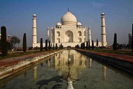 Taj Mahal - India,The southern view of Taj Mahal at sunrise. The Taj Mahal is a mausoleum at Agra in northern India photo