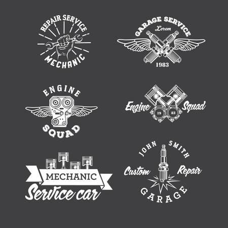 car in garage: Set of vintage car labels and design elements Illustration
