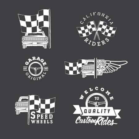 formula car: Set of vintage car labels and design elements Illustration