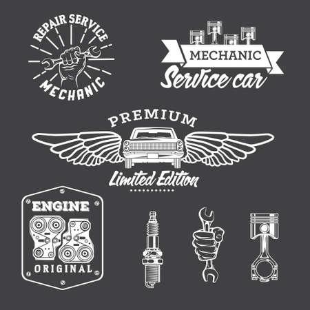 Set of vintage car labels and design elements Illustration