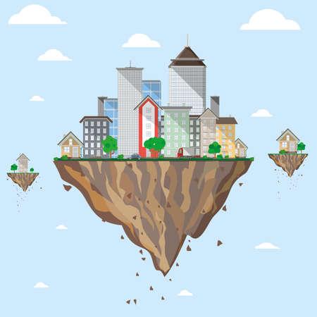 Flying city. Colorful illustrations. Flat vector illustration.