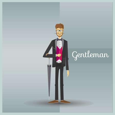 Gentleman. Colorful illustrations. Flat vector illustration. Stock Vector - 99343309