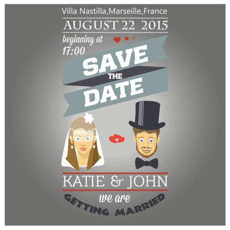 Invitation for the wedding. Save the Date. Colorful illustrations.