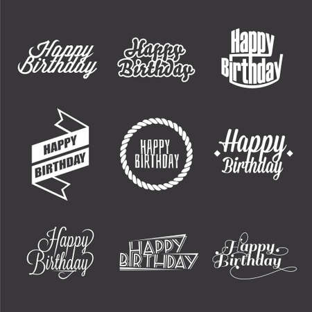 Set of Happy Birthday's lettering, typography design elements.