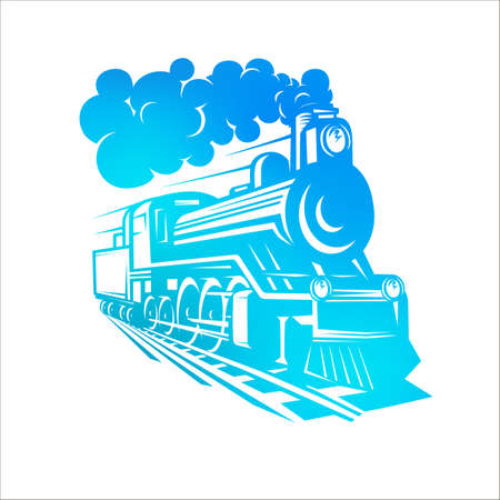 Vector templates with a locomotive, vintage train, logotype, illustration. Blue illustrations.