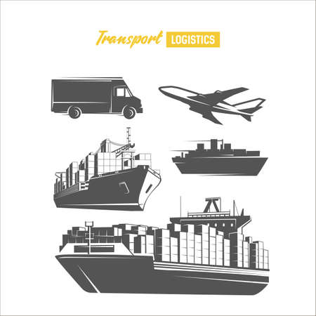 Black and white ships vector objects. Illustration