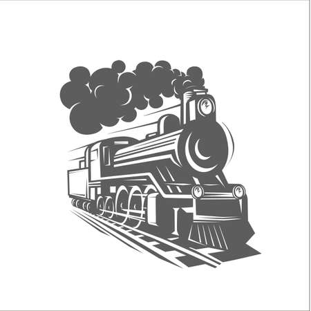 Vector templates with a locomotive, vintage train, logotype, illustration. Black and white vector object Logo