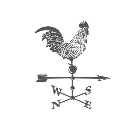 Weather vane. Rooster. Black and white illustration. Vectores