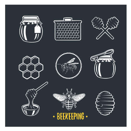 Beekeeping. Set of vintage honey labels, badges, logotypes and design elements. Apiary logo template.