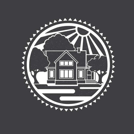 Vector object of house with texture illustration. Illustration