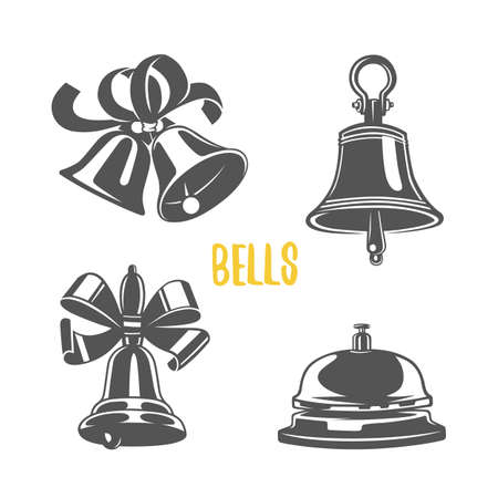 Bell  illustration. Logotypes and badges. Black and white illustration.
