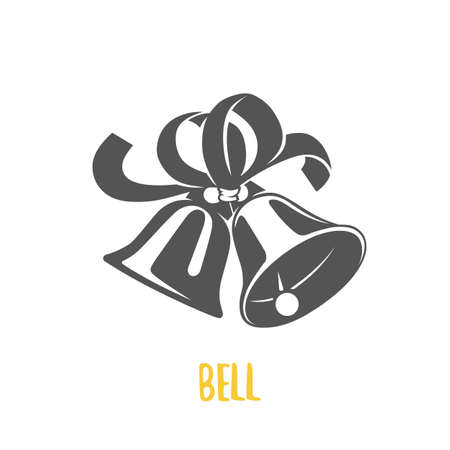 Bell illustration. Icon and badges. Black and white illustration.