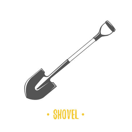 Shovel. Black and white vector illustration. 向量圖像