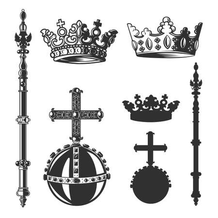 Heraldic symbols, monarch set in black and white vector objects.