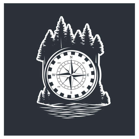 Adventure compass. Black and white vector illustration.