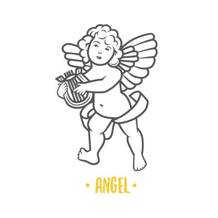 Black and white vector objects of angels