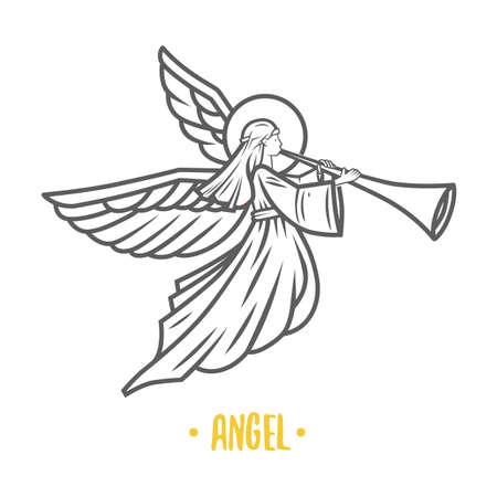 Dios ángel. Ilustración de vector. Objetos vectoriales en blanco y negro