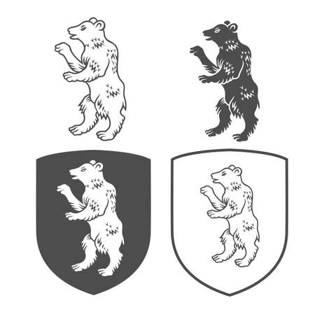 Vector heraldic shields with bear on a white background. Иллюстрация