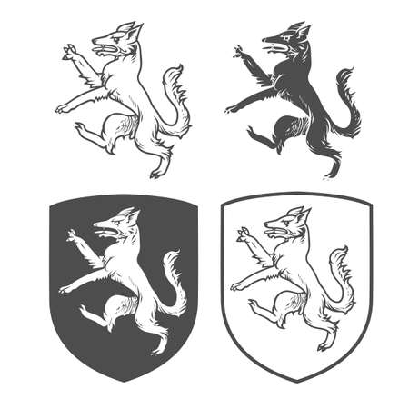 Vector heraldic shields with dog on a white background. Coat of arms, heraldry, emblem, symbol design elements. Illustration