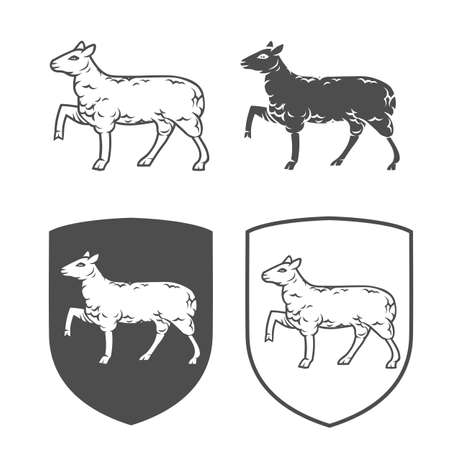 Vector heraldic shields with lamb on a white background. Coat of arms, heraldry, emblem, symbol design elements. Illustration