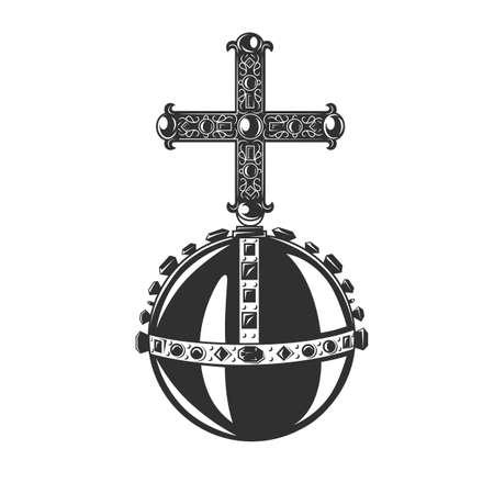 Monarch Orb, simbolo araldico. Oggetto vettoriale in bianco e nero.