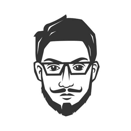 Mans face with beard. Black and white vector object.
