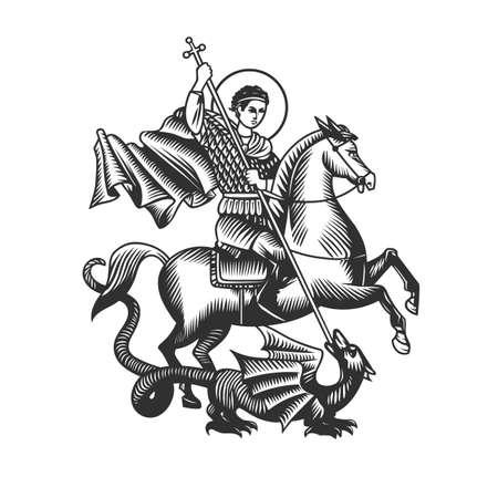 Święty Jerzy. Ilustracji wektorowych. Czarno-białe obiekty wektorowe