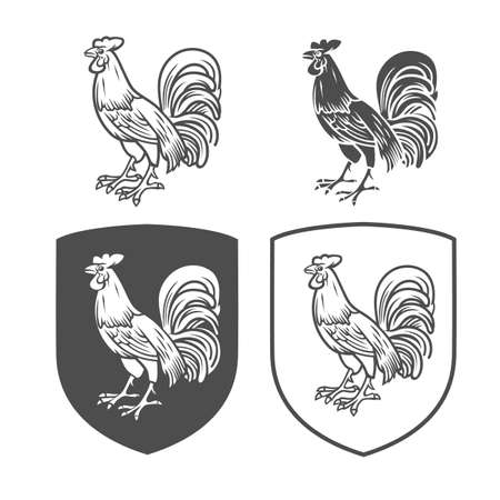 Vector heraldic shields with cock on a white background. Coat of arms, heraldry, emblem, symbol design elements.