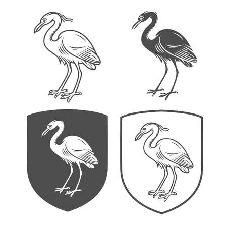 Vector heraldic shields with crane on a white background. Coat of arms, heraldry, emblem, symbol design elements.