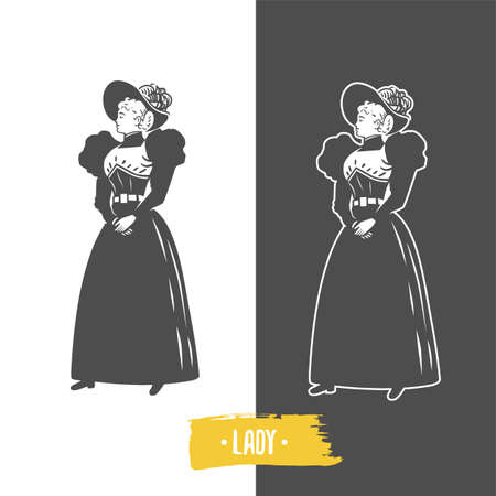Lady, old fashion vector illustration. Black and white vector objects.