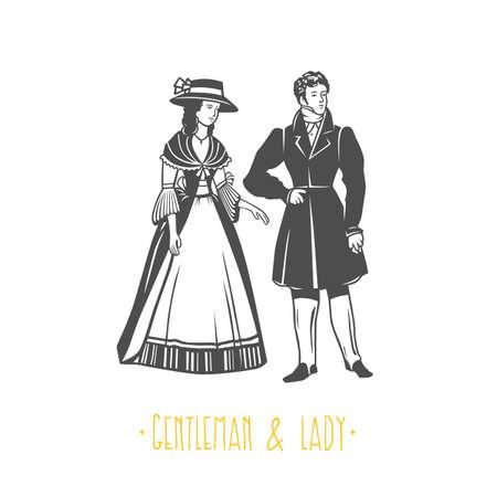 Illustration de style vintage dame et gentleman. Objets vectoriels noir et blanc.