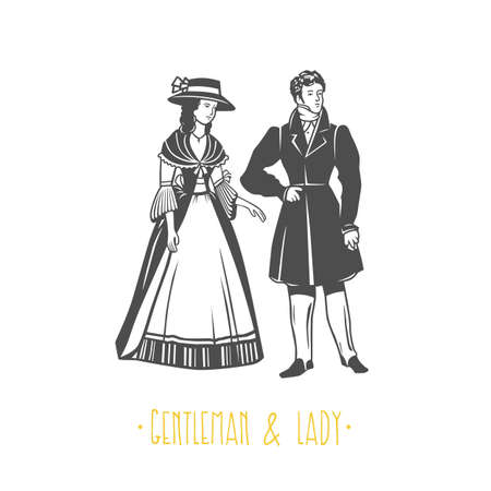 Vintage lady and gentleman style  illustration. Black and white vector objects.