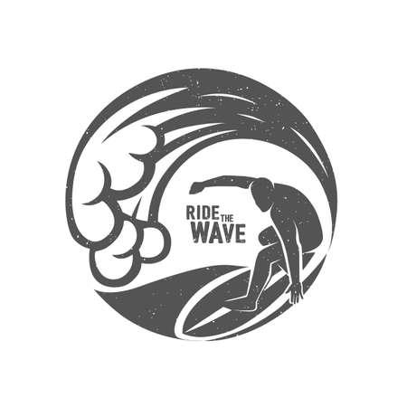 Surfing logo. Ride the wave. Surf rider.  Vector illustration.