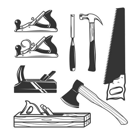 Carpentry tools. Logo templates. Black and white objects.  イラスト・ベクター素材