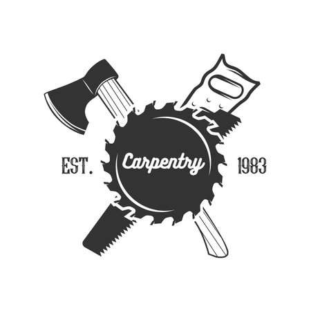 Set of carpentry logo templates. Black and white vector objects.